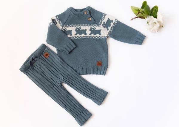 Bilde av Gråblå ullsett med genser Lajny og ribbebukse Kenty