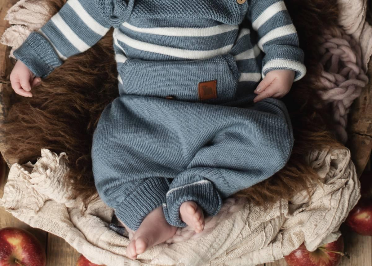 Baggybukse Chias i merinoull, gråblå